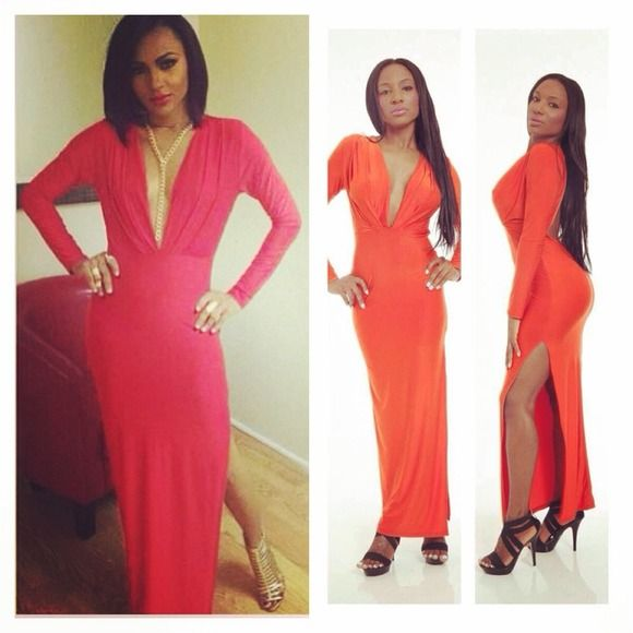 """Orange Long Sleeve Backless High Slit Maxi Dress WHO: Glamour Girl, Beauty Queen, Stunner WHERE: The Ball, The Oscars, Wedding WHAT: Keyhole Cutout, High Slit, Fitted With Stretch. 96% Polyester, 4% Spandex. Made In USA. Model Is 5'7"""", Wearing A Size Medium. Size Medium l Length Approx 55"""". Dresses Maxi"""