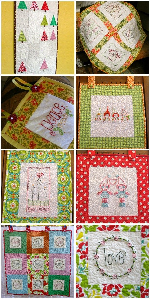 7 Christmas Wall Hangings Christmas Embroidery Patterns Christmas Wall Hangings Quilted Wall Hangings