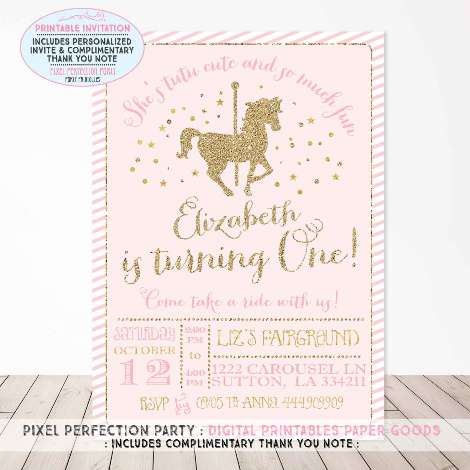 Carousel Birthday Invitation Carousel Party Invite Pink and Gold