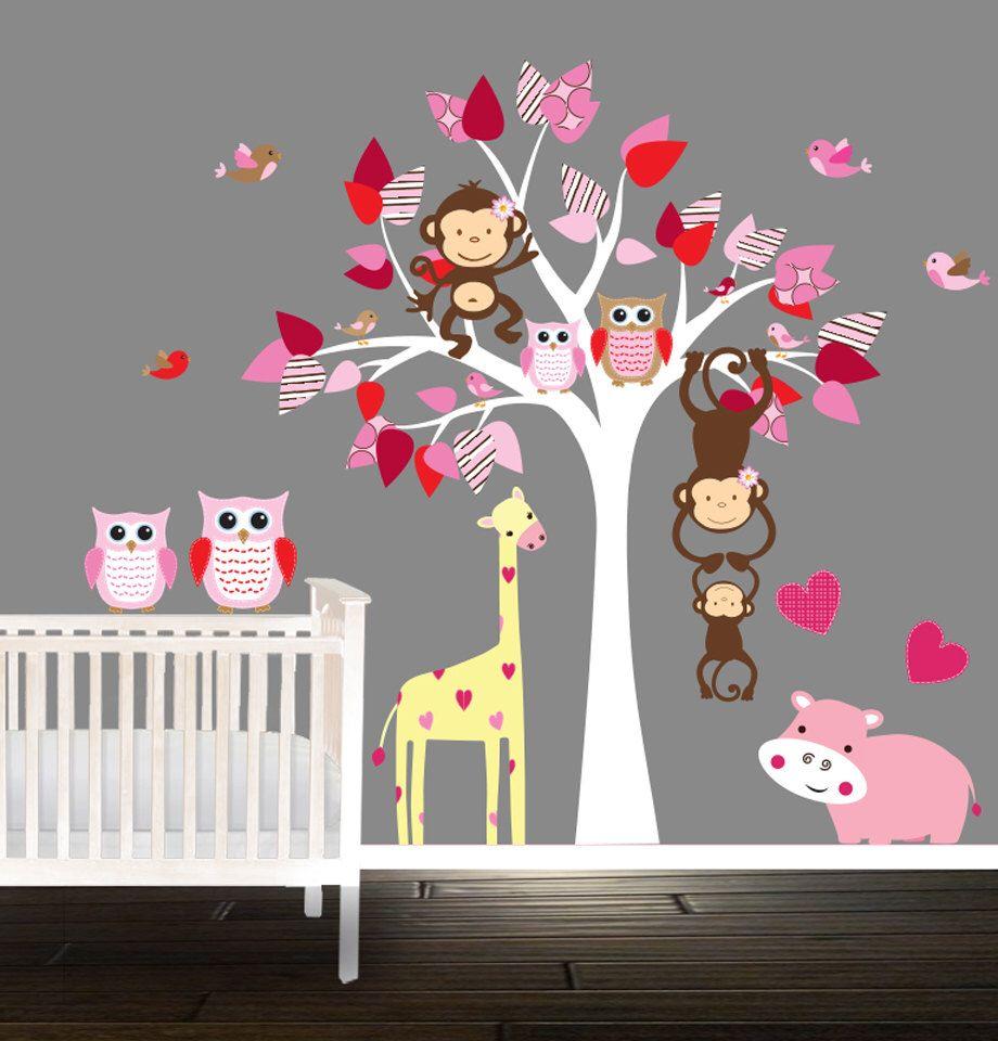 Pink Nursery Tree Set Owl Wall Decals Decal Baby Hippo Giraffe
