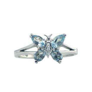 Diamond And White Gold Blue Topaz Butterfly Ring Available