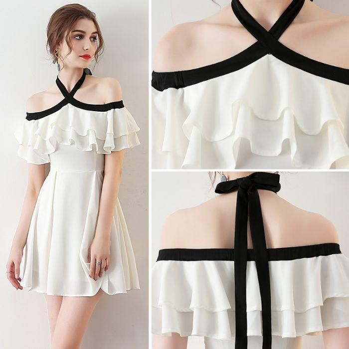 Chic Light Ivory Halter Ruffles Chiffon Short Homecoming Dresses,Short Prom Dresses,N406 #chiffonshorts