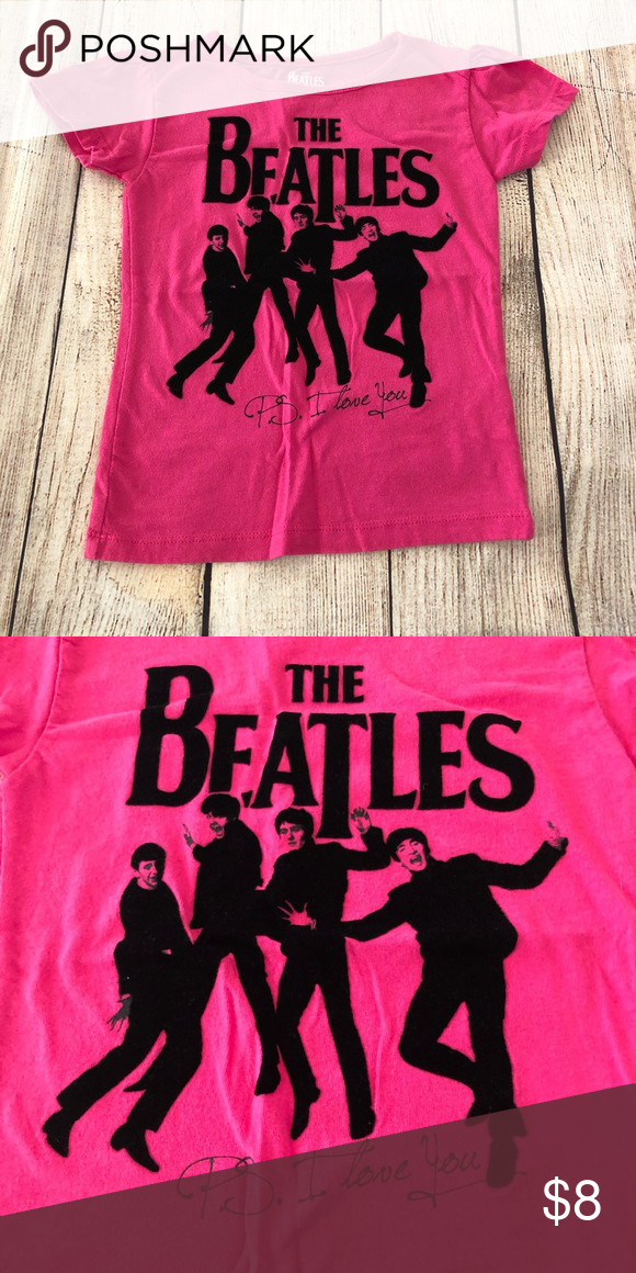 849fa3a042ca9f The Beatles Shirt Hot pink with black fuzzy print. P. S. I love you. Shirts    Tops Tees - Short Sleeve