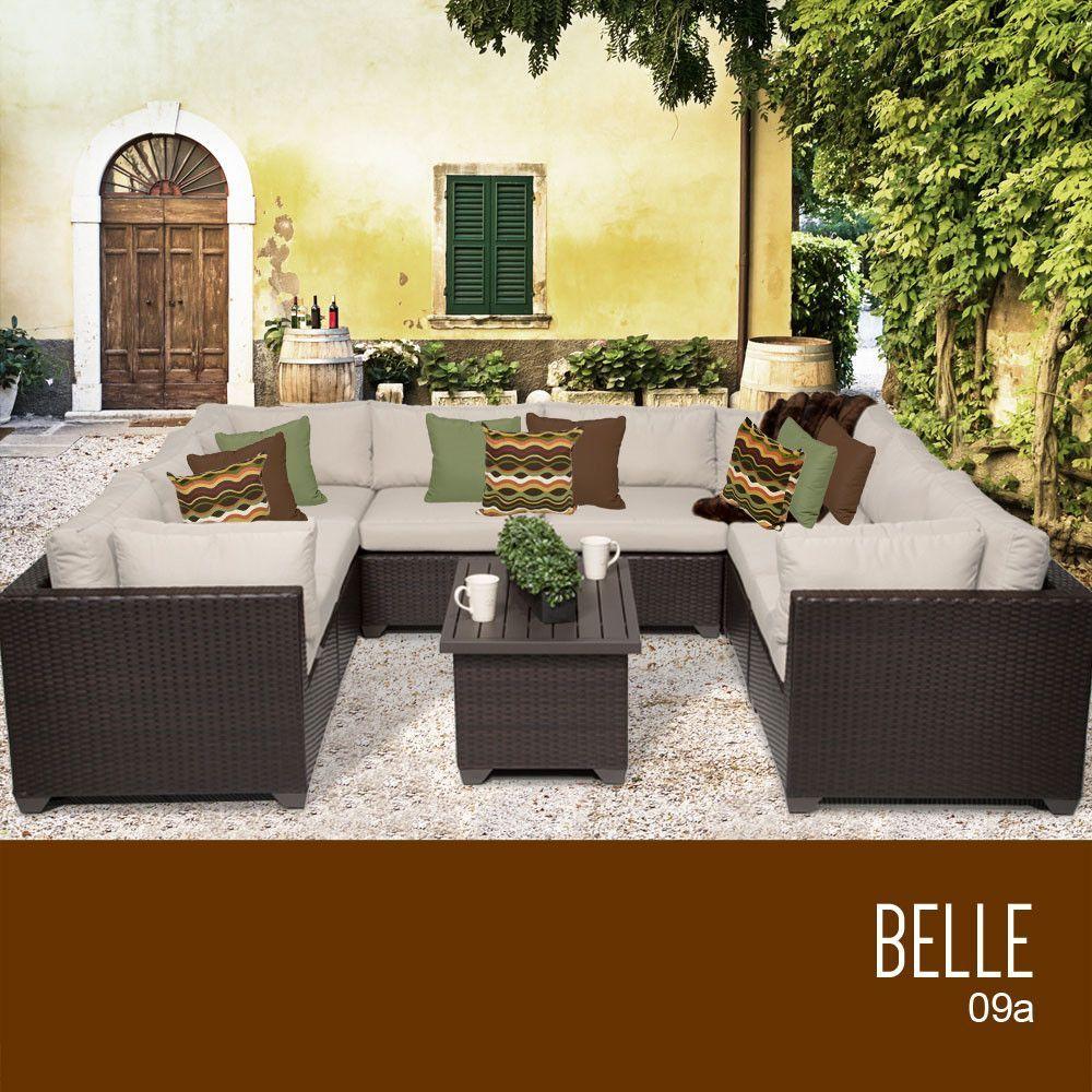 TKC Belle 9 Piece Outdoor Wicker Furniture Conversation Set 09a, Beige