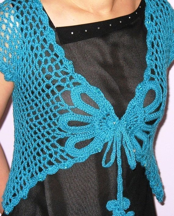 Large Size 16 Shrug Woman Summer Sweater Top INSTATNT DOWNLOAD Crochet Pattern - Lovely Aqua Butterfly Shrug - Large Size 16
