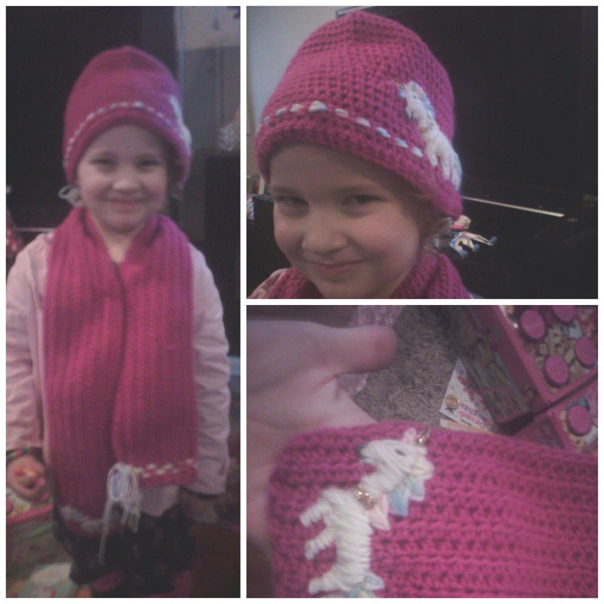 Matching scarf and beanie crocheted.  Hand sewed unicorn into beanie and on one side of scarf.  Made this for my niece for her birthday, just before she went on a holiday to Tasmania...