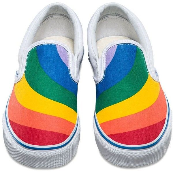 75cb189687 Vans Rainbow Slip-On (180 PEN) ❤ liked on Polyvore featuring shoes ...