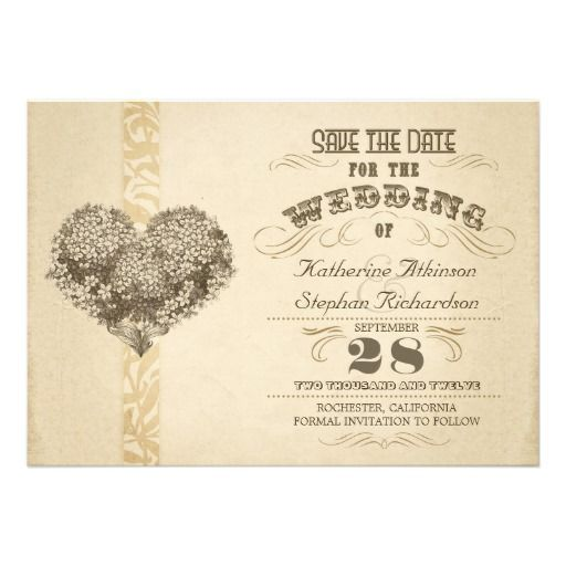 Vintage aged typographic save the date pinterest wedding and vintage aged typographic save the date personalized invitation with floral heart stopboris Images