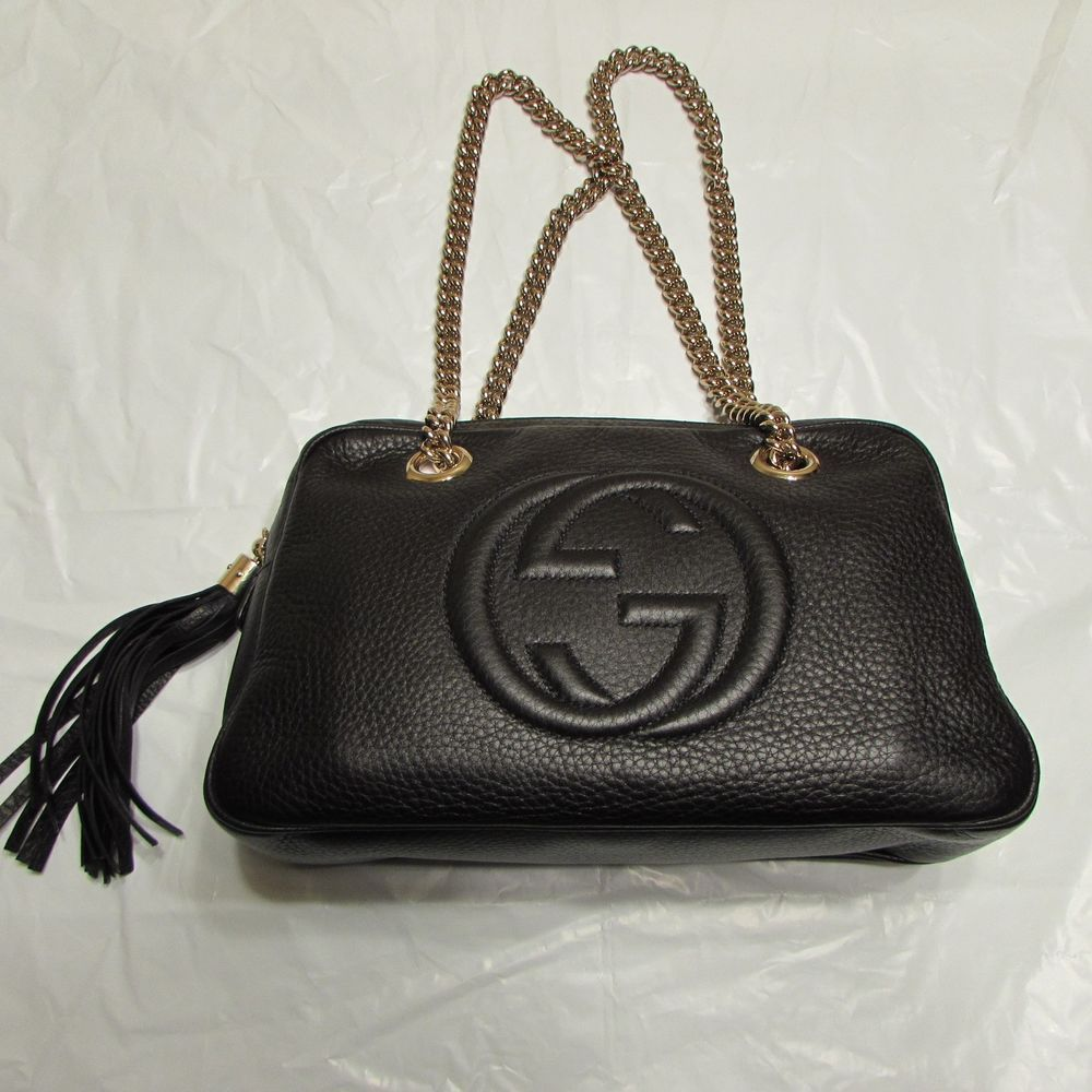 eb9985cec30 Gucci Soho Black Leather Double Chain Shoulder Bag - NWT