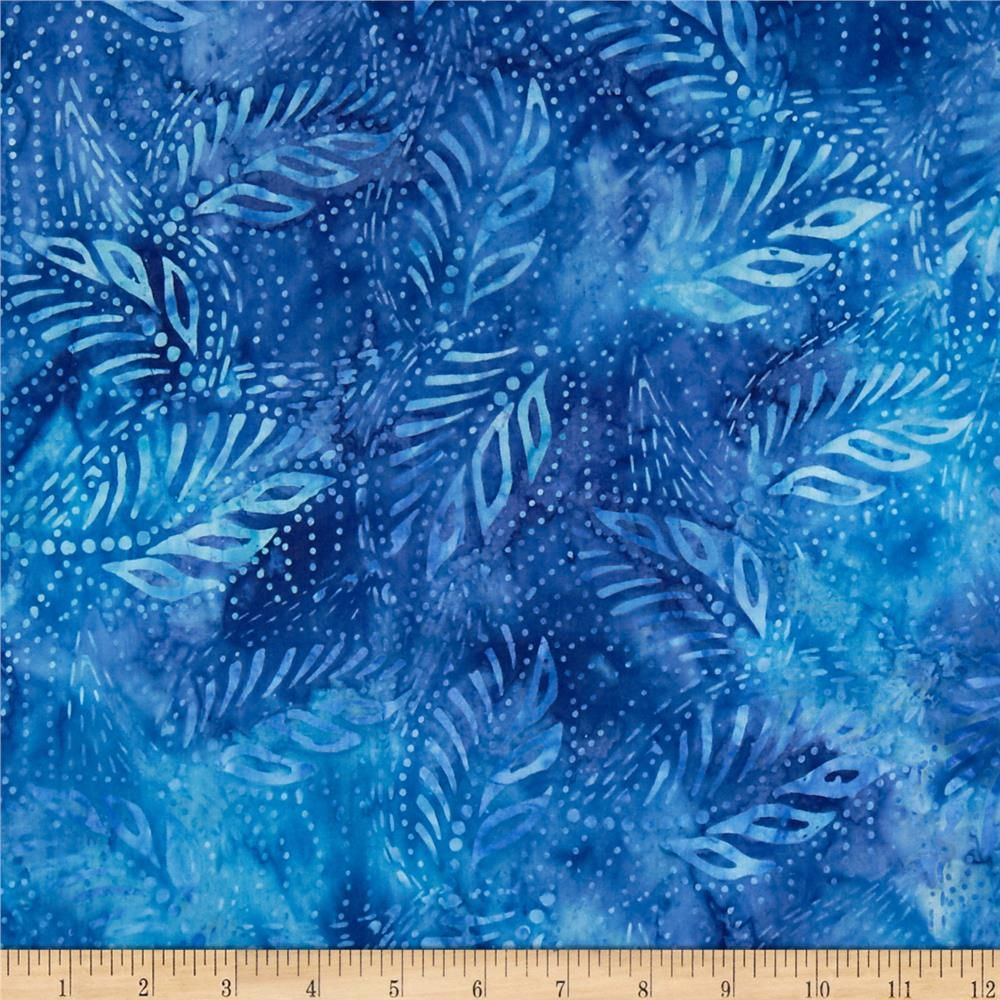 Tonga Batik Reef Leaves Blue From @fabricdotcom From