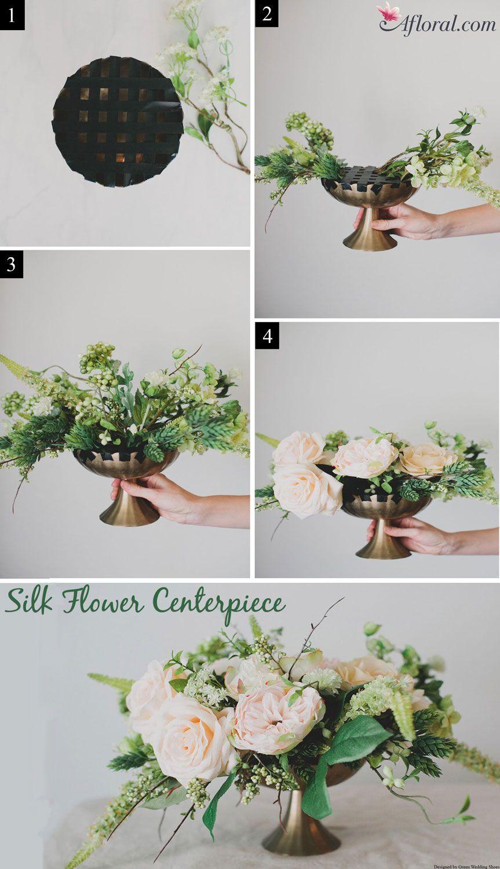 DIY Silk Flower Centerpiece | Greenery centerpiece, Greenery and ...