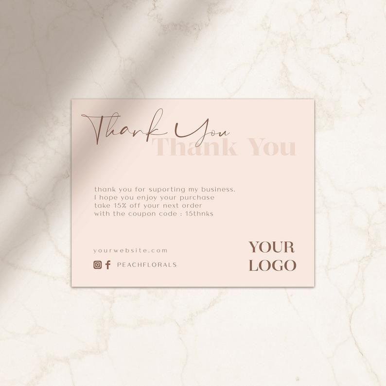 Thank You Card Business Thank You Card Template Thank You Etsy Kartu Nama Kartu Nama Bisnis Kartu