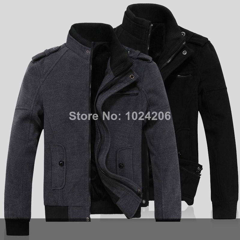 FREE SHIPPING 2014 man winter warm men woolen jackets men Wool clothes winter brand men's Fashion jacket new popular coat $44.99
