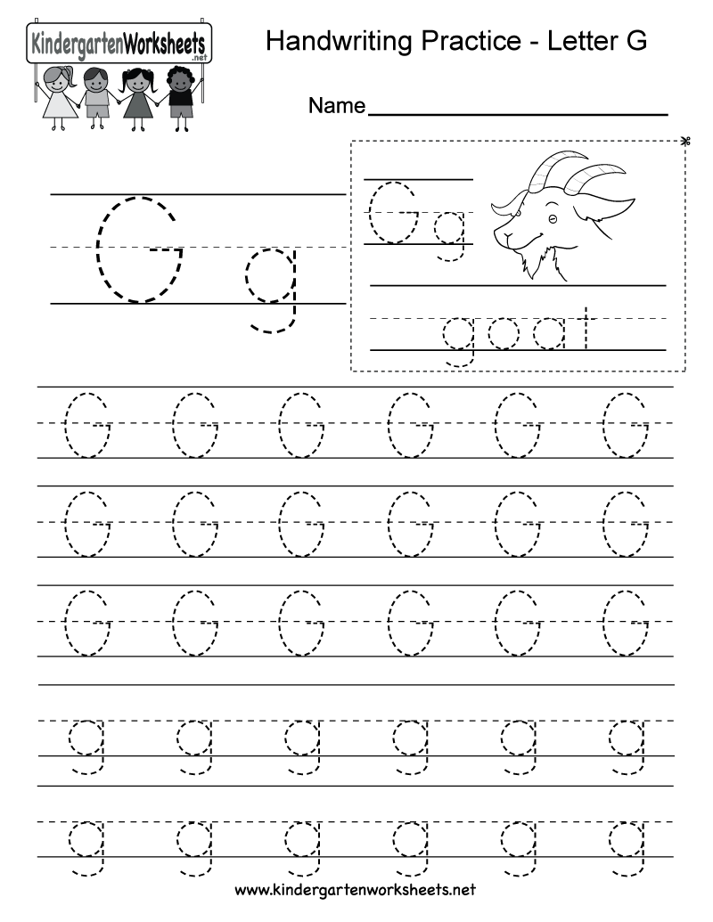 Letter G Writing Practice Worksheet. This series of handwriting ...