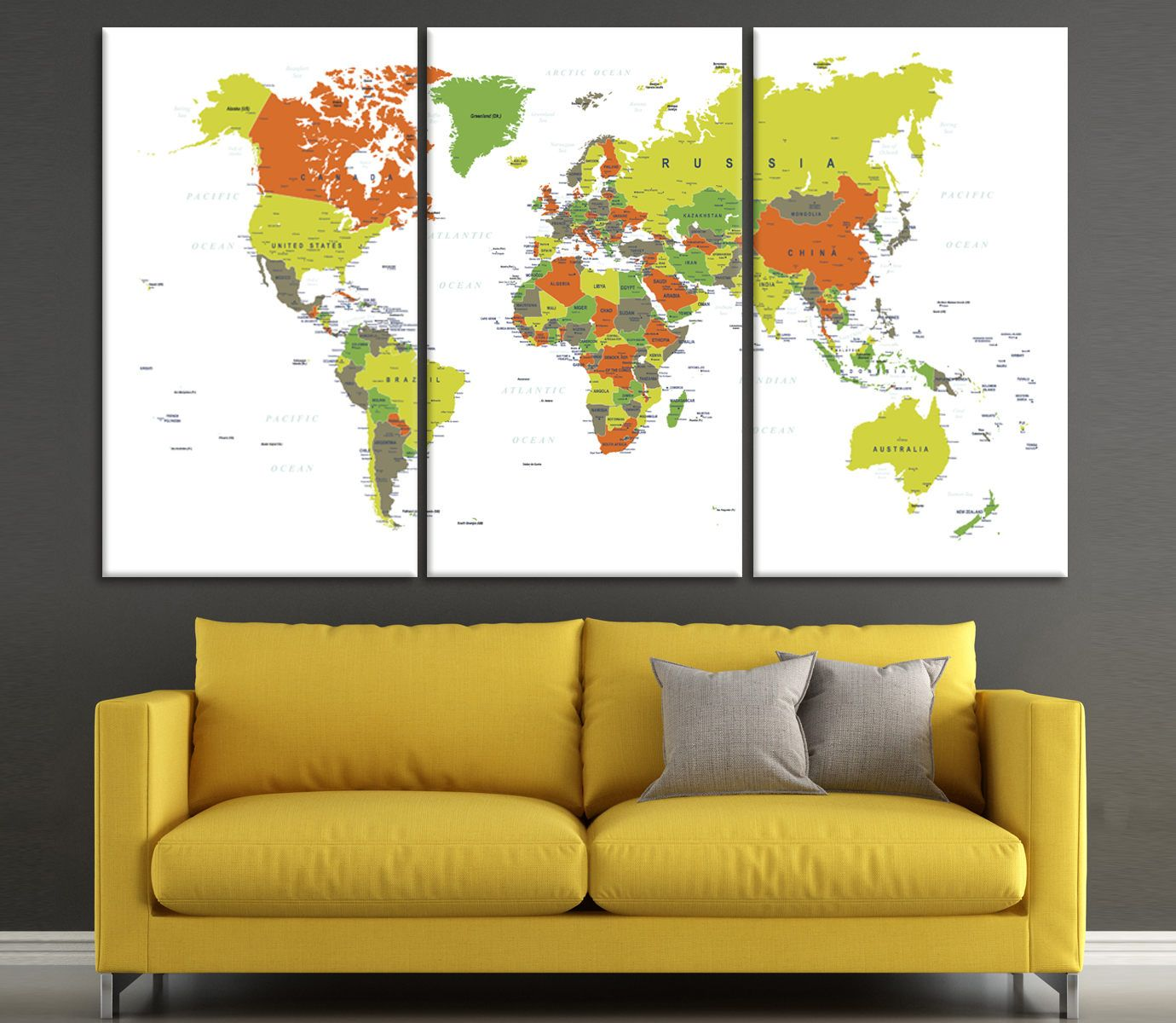 Colorful Detailed world map wall art with countries names canvas ...
