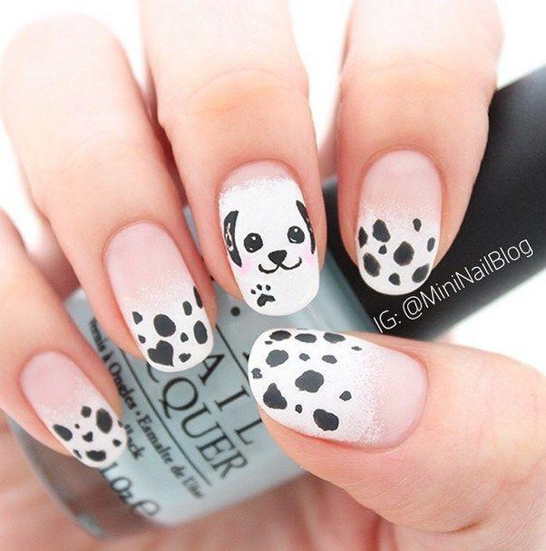 30 super creative black and white nail art designs cute puppies 30 super creative black and white nail art designs prinsesfo Image collections