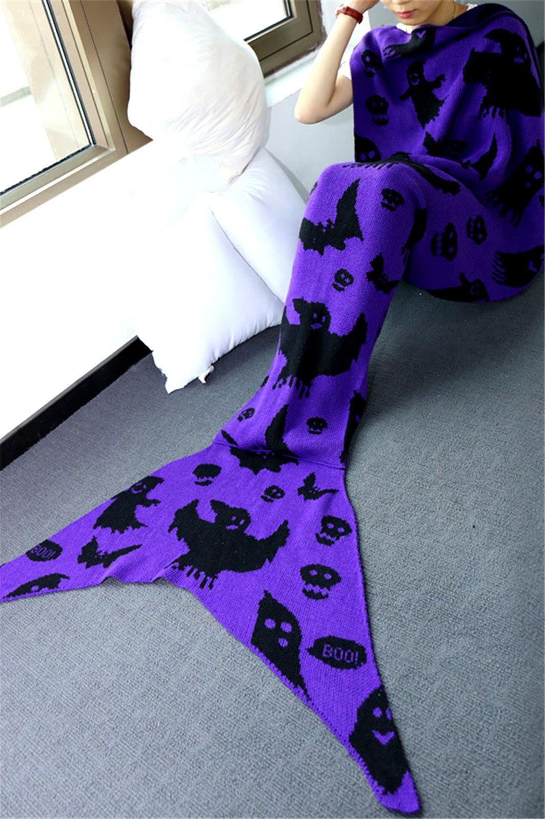 $19.02 Comfortable Halloween Ghost Pattern Sofa Mermaid Blanket