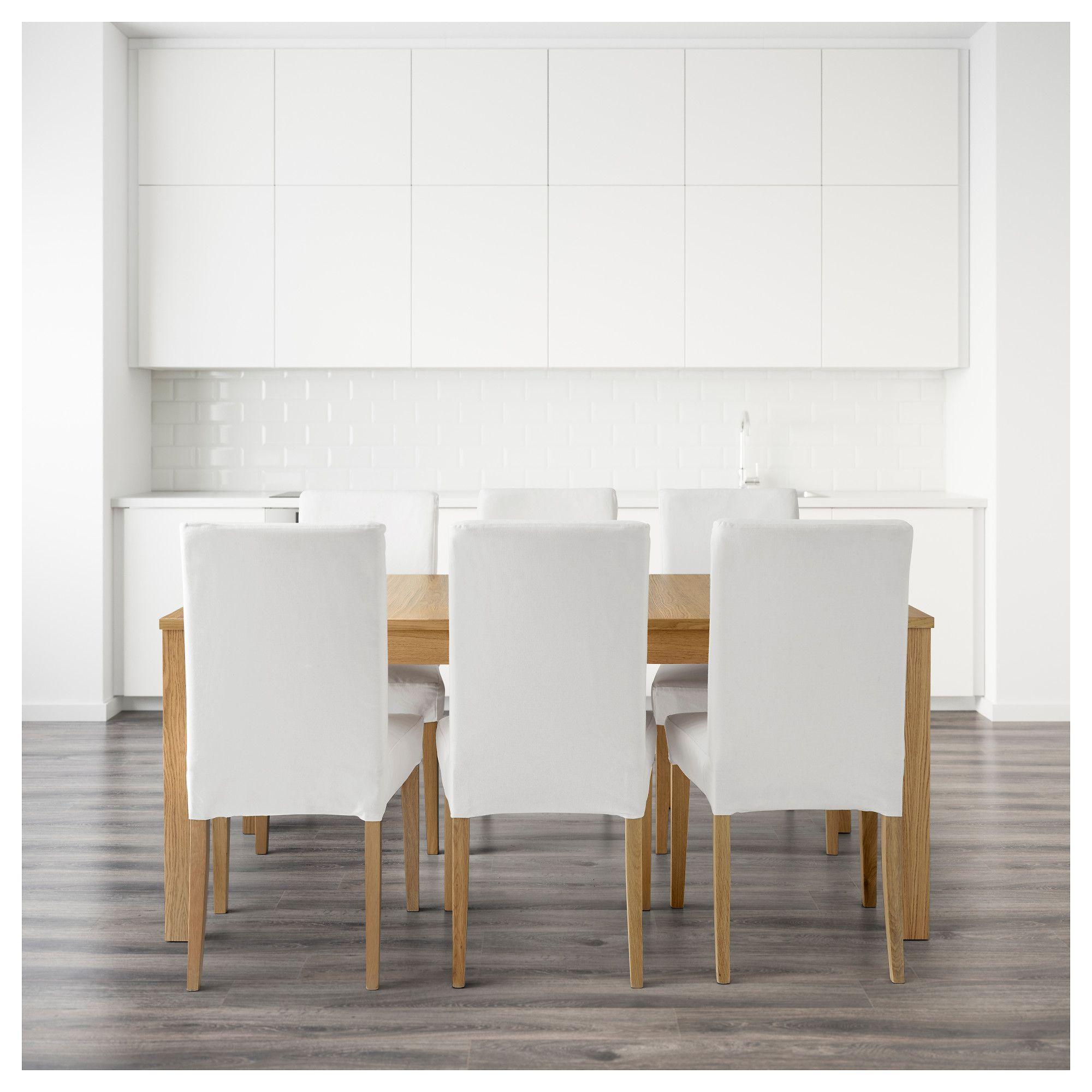 Ikea Bjursta Mesa Comedor | Henriksdal Bjursta Table And 6 Chairs Oak Veneer Grasbo White 175