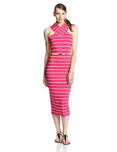 d9f0e519b19b3c Ted Baker Women s Canna Striped Crossover Neck Fitted Midi Dress