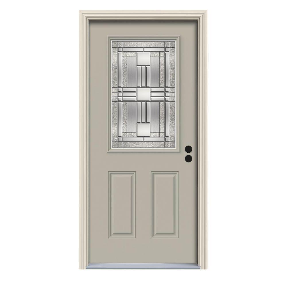 Jeld Wen 36 In X 80 In 1 2 Lite Cordova Primed Steel Prehung Left Hand Inswing Front Door W Brickmould Thdjw166700622 Entry Doors House Styles White Paints