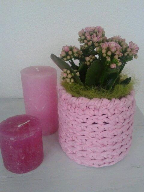 Crochet Pink Flower Pot Gehaakte Roze Bloempot Met Zpagetti T