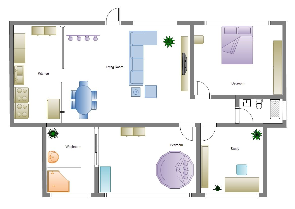 The example simple home plan is drawn via Edraw software