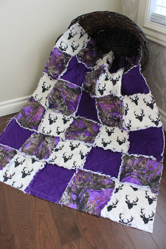 Photo of Baby Girl Rag Quilt, Purple Camo Baby Quilt,Grey Chevron, Real Tree Camo, Deer Heads And Camo, Girl Camo Quilt, Ready To Ship
