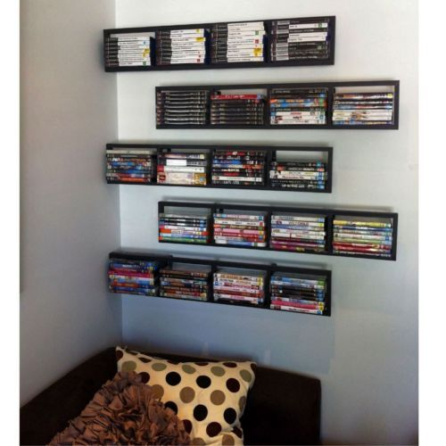 2 black lerberg cd dvd rack shelf wall mount metal steel for Ikea rack mount