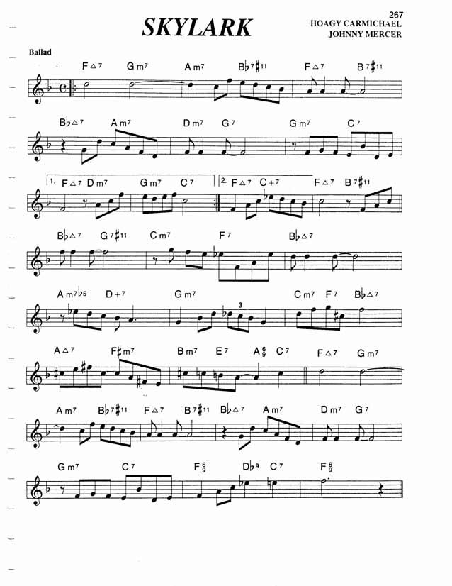 All Music Chords skylark sheet music : Jazz Standard Realbook chart SKYLARK | Sheet Music | Pinterest ...