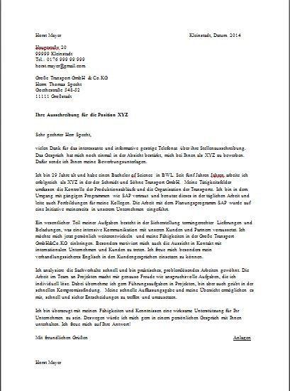 Sample German Cover Letter Cv Cover Letter Sample