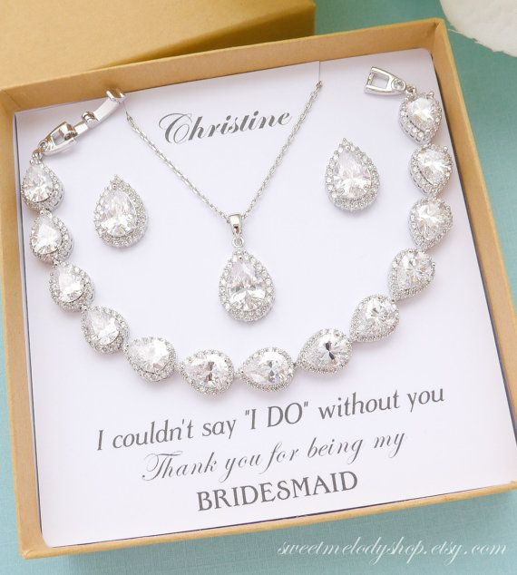 Personalized Bridesmaid Gift Bridesmaid Jewelry Set Bridesmaid