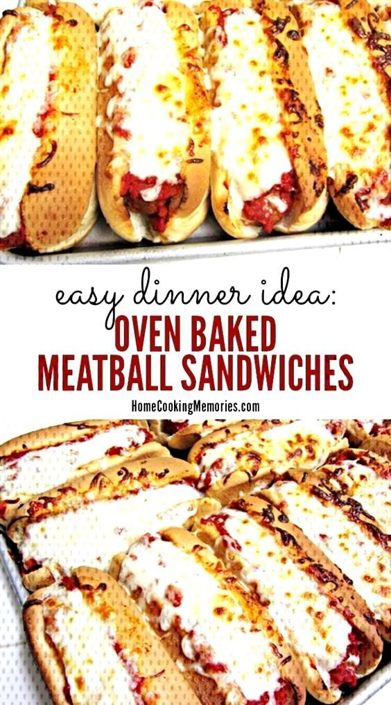 Oven Baked Meatball Sandwiches Recipe | This oven baked meatball sandwich recipe is a perfect easy