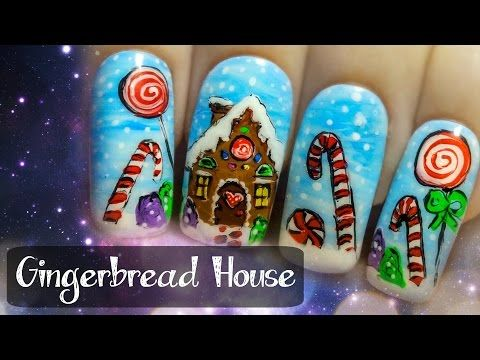 Gingerbread House Christmas Freehand Nail Art Tutorial Youtube
