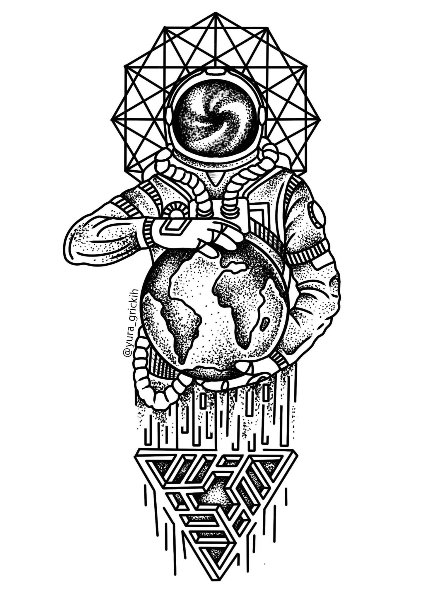 Line Art Information : Pin drawn astronaut outline artist