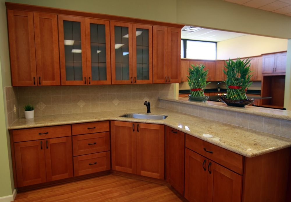 Granite For Natural Cherry Shaker Cherry Renton Cabinet And