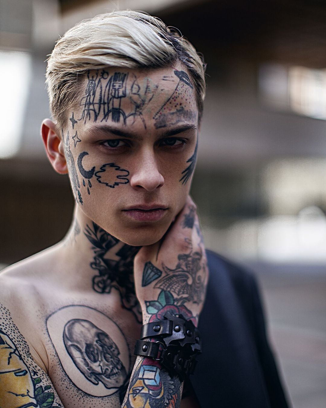 Cool Face Tattoo For Young Boy Model At Laviedekirill Tattoo