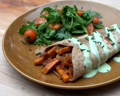 Veggie Burritos with Cilantro Sauce ♥ AVeggieVenture.com, a vegetarian 'concept' recipe for what's on hand, gorgeous sauce. Very adaptable! Rave reviews! #cilantrosauce