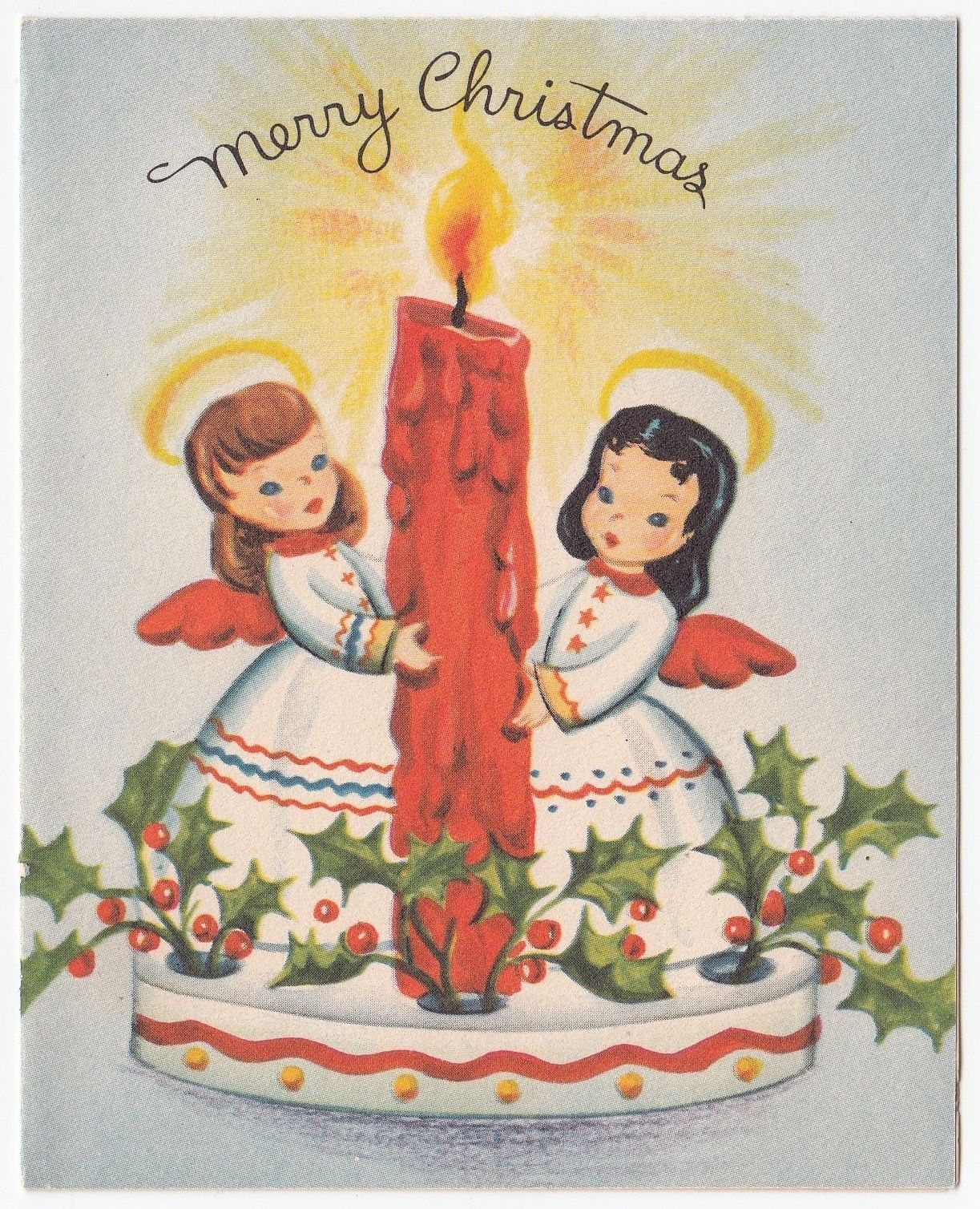 Vintage greeting card christmas tiny angel candle holly l08 vintage greeting card christmas tiny angel candle holly l08 collectibles paper vintage greeting kristyandbryce Choice Image