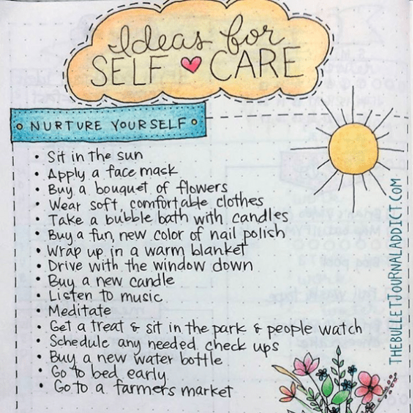 5 fantastic ideas for self care bullet journal spreads