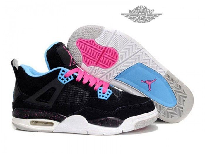 Air Jordan 4 Retro Anti-Fourrure Chaussures Jordan Pas Cher Pour Femme Noir /Pink
