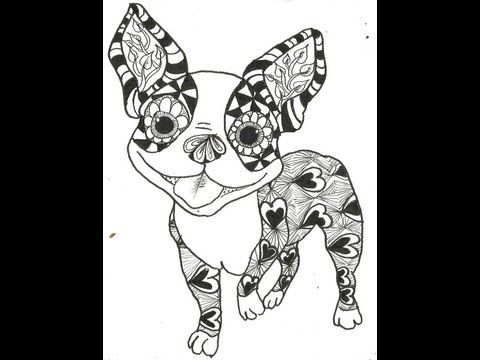 Boston Terrier Tangle Dog Coloring Page Zentangle Animals Animal Coloring Pages
