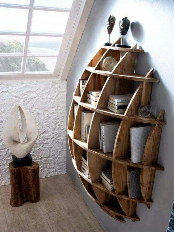 Get Inspired With This DIY Spherical Wooden Wall Book Shelf To Make An Abstract Architectural Piece Of Home Decor