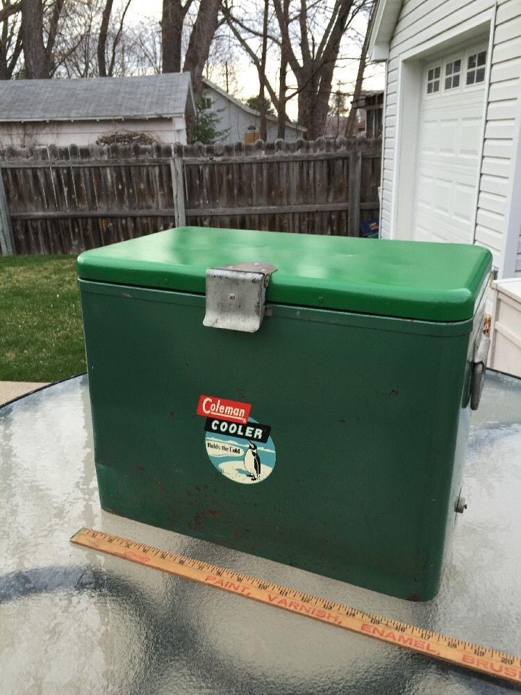 Vintage Green Coleman Metal Chest Cooler -Penguin Label - #Coleman