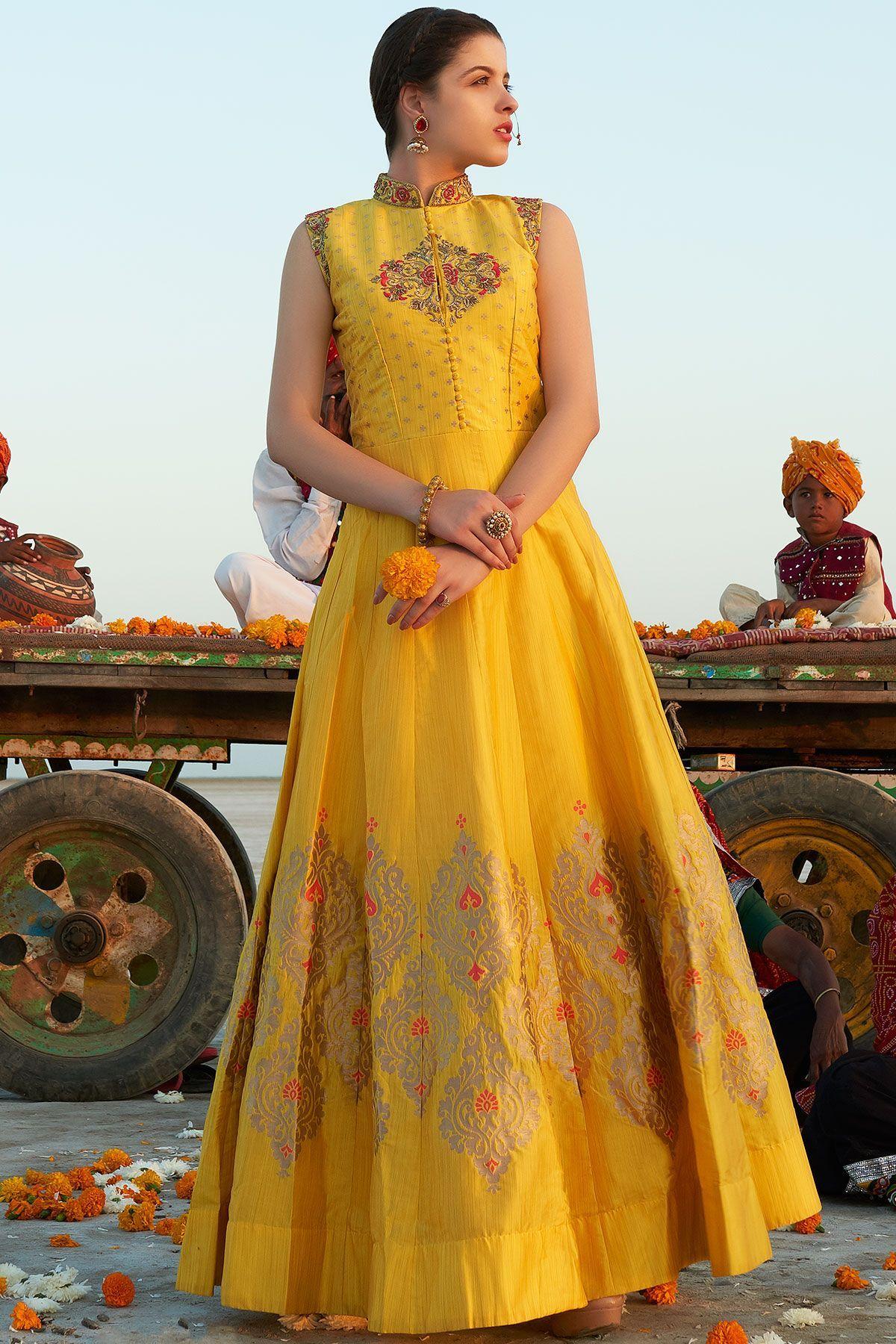 541110c189 Buy Yellow Silk Zardosi Embroidered Party Wear Salwar Kameez Online Indian  Ethnic Wear, Western Gown