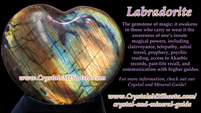 Crystal of the Day - Labradorite! Helps with magic, telepathy, astral travel, and more! http://www.crystalsmtshasta.com/blog/crystal-of-the-day-labradorite/