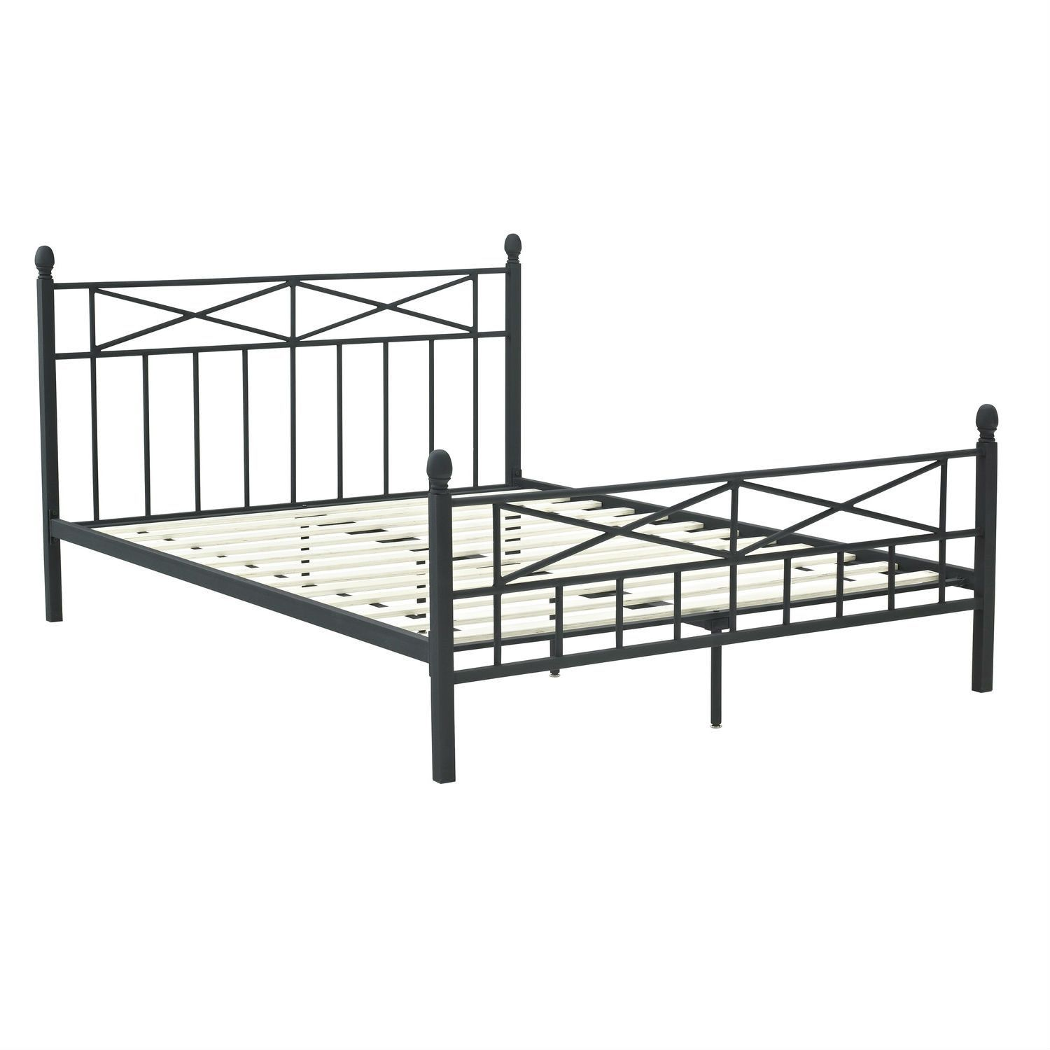 full size matte black metal platform bed frame with headboard footboard and wood slats