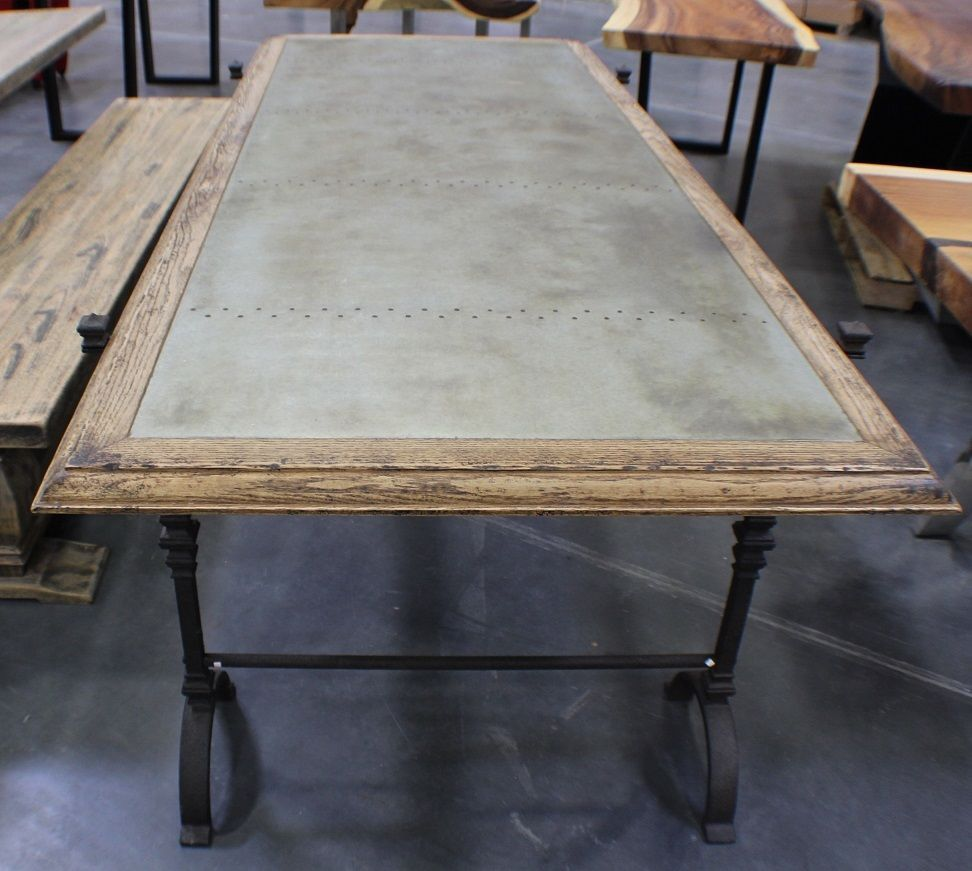 86 L Dining Table Black Iron Base Wood Zinc Metal Top Now Showing In Park City Dining Table Black Dining Table Table