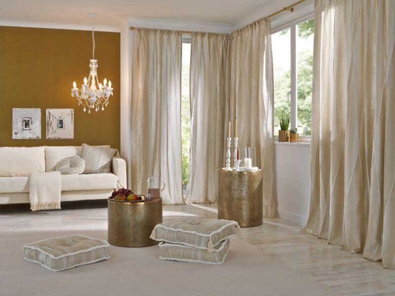 wohnzimmer gardine elegant beige Vielfltige Plissees