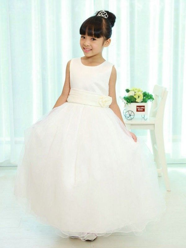 ... dresses uk online shop. A-line Princess Scoop Sleeveless  Sash Ribbon Belt Long Organza Flower Girl… 775b8df30c3e