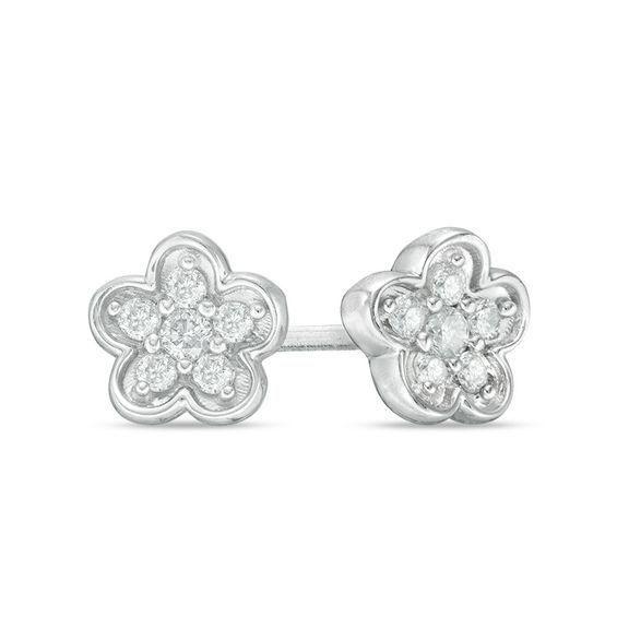 Zales 1/4 CT. T.w. Enhanced Black Diamond Flower Earrings in 10K White Gold WUMHK4cWi
